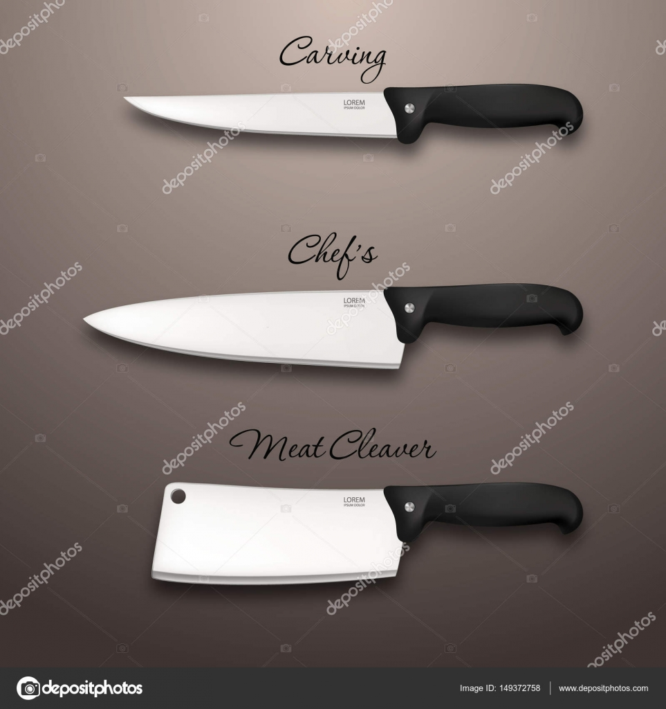 cutlery icon set vector realistic kitchen knives isolated design