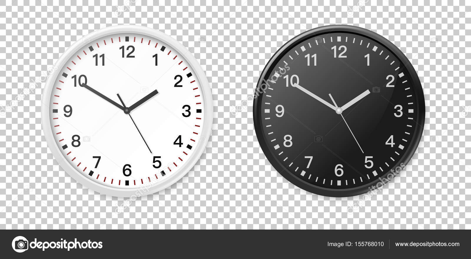 White and black wall office clock icon set. Design template closeup ...