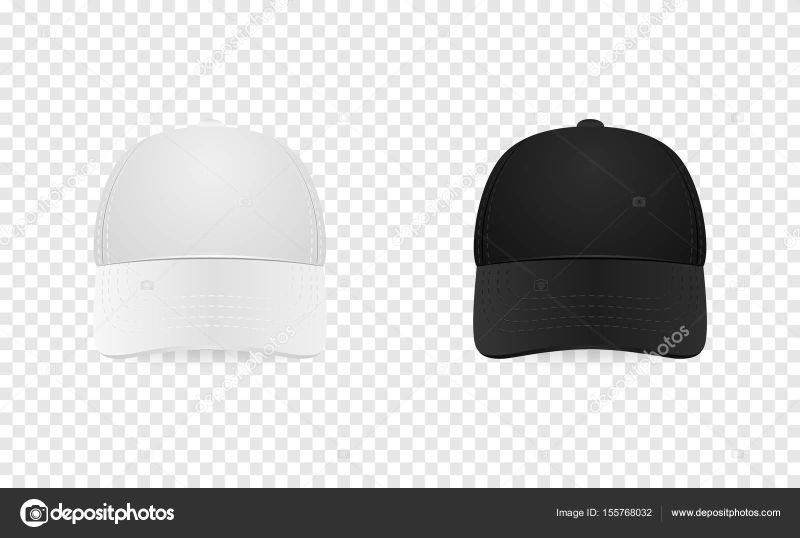 White And Black Baseball Cap Icon Set Front View Design