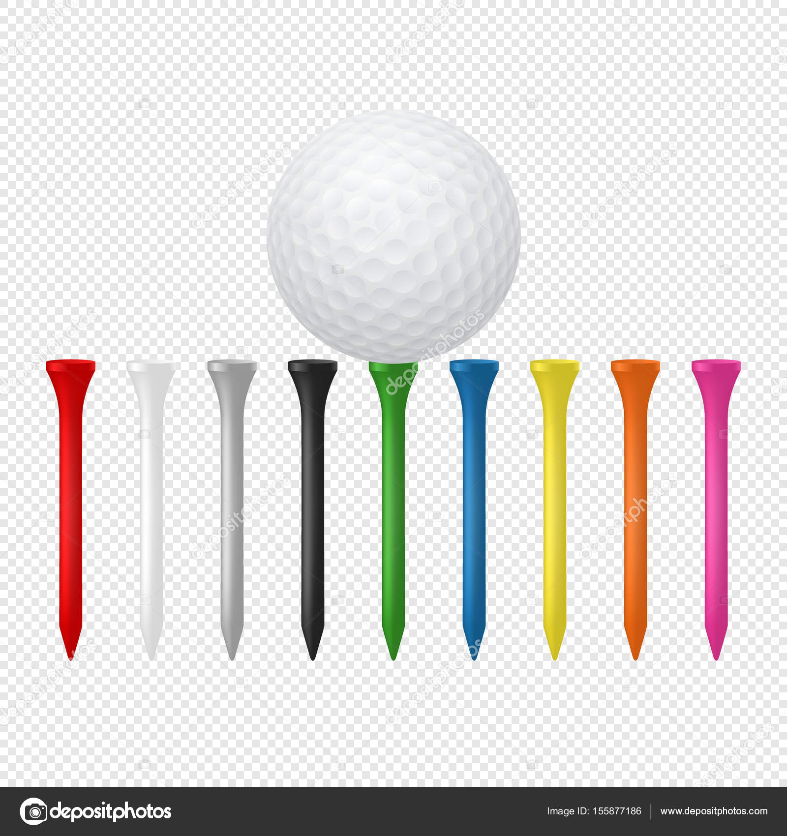 illustration of sports set realistic golf ball with tees design