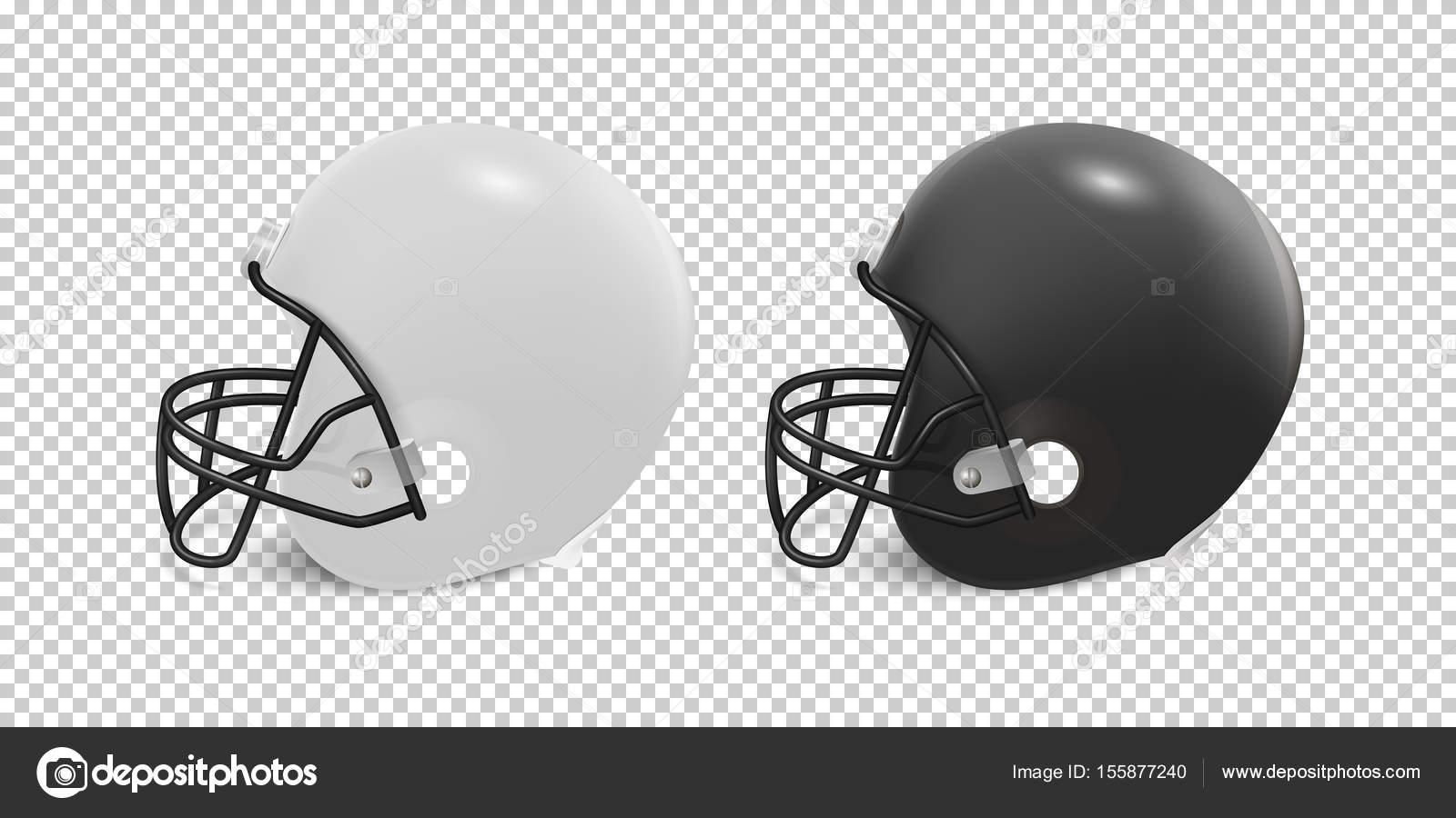 realistic classic american football helmet set black and white