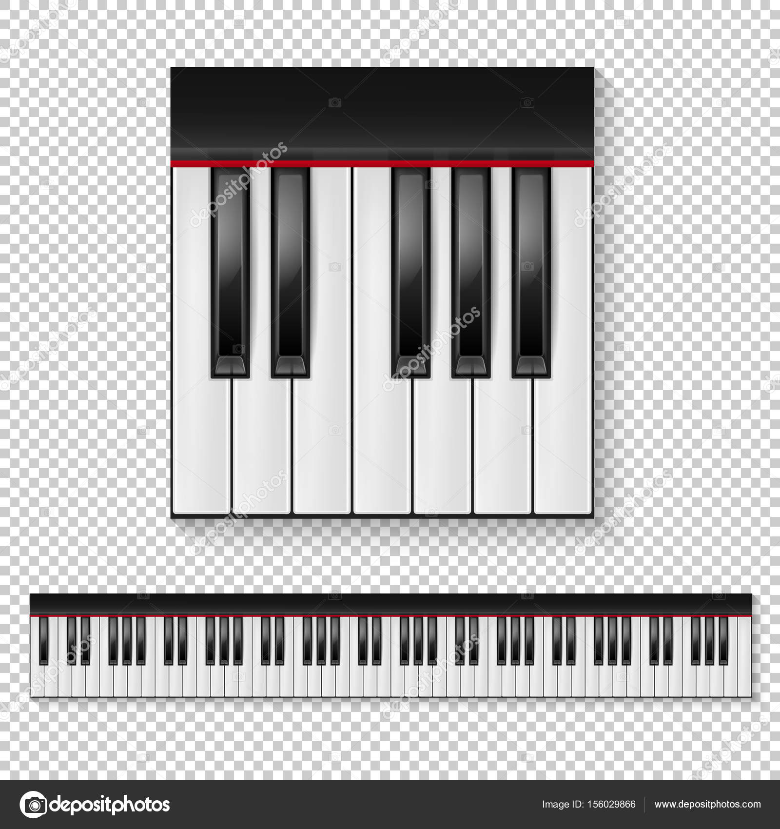 Realistic vector piano keys closeup isolated and keyboard icon set ...