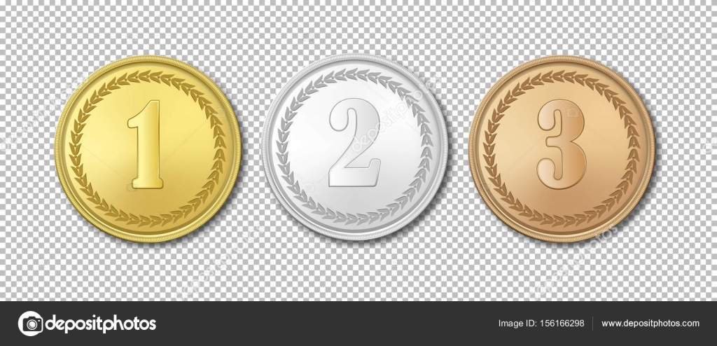 Realistic vector gold, silver and bronze award medals icon set ...