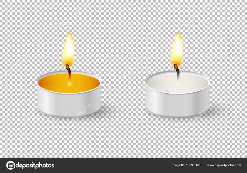 Icono de vela de tealight realista fijar aislado sobre fondo ...