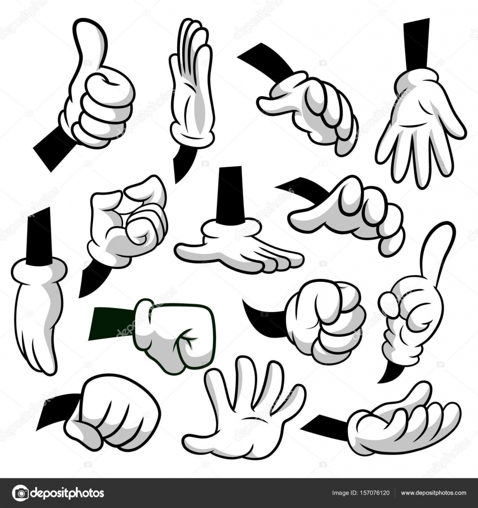 Cartoon hands with gloves icon set isolated on white background ...