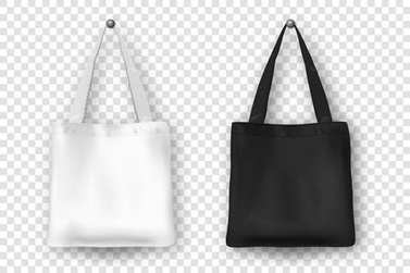 Realistic vector black and white empty textile tote bag icon set. Closeup isolated on white background. Design templates for branding, mockup. EPS10.