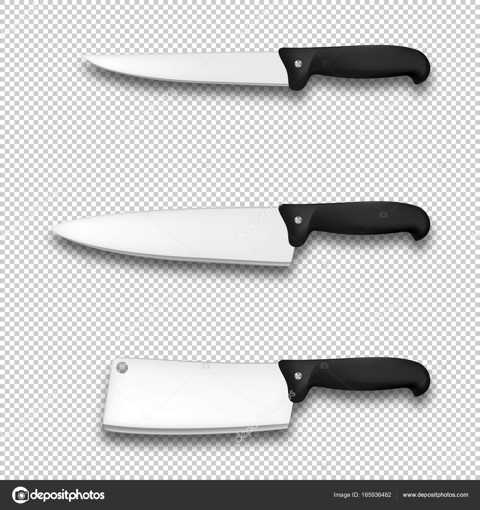 cutlery icon set vector realistic diffrent kitchen knives closeup
