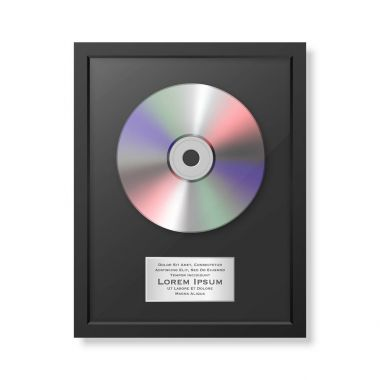 Realistic vector cd and label in glossy black frame icon closeup isolated on white background. Single album disc award. Design template. Stock vector mockup. EPS10.