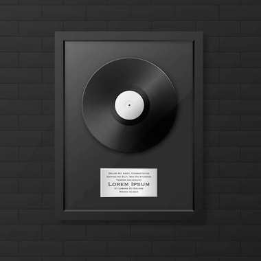 Realistic vector LP and label in glossy black frame icon closeup on black brick wall background. Single album disc award. Design template. Stock vector mockup. EPS10.