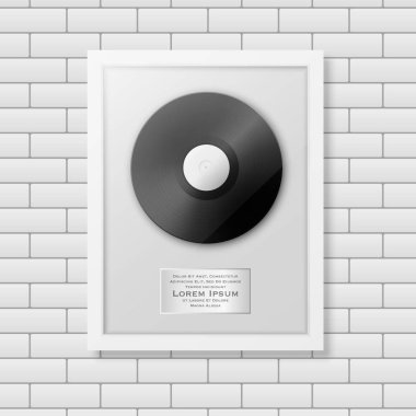 Realistic vector LP and label in glossy white frame icon closeup on white brick wall background. Single album disc award. Design template. Stock vector mockup. EPS10.
