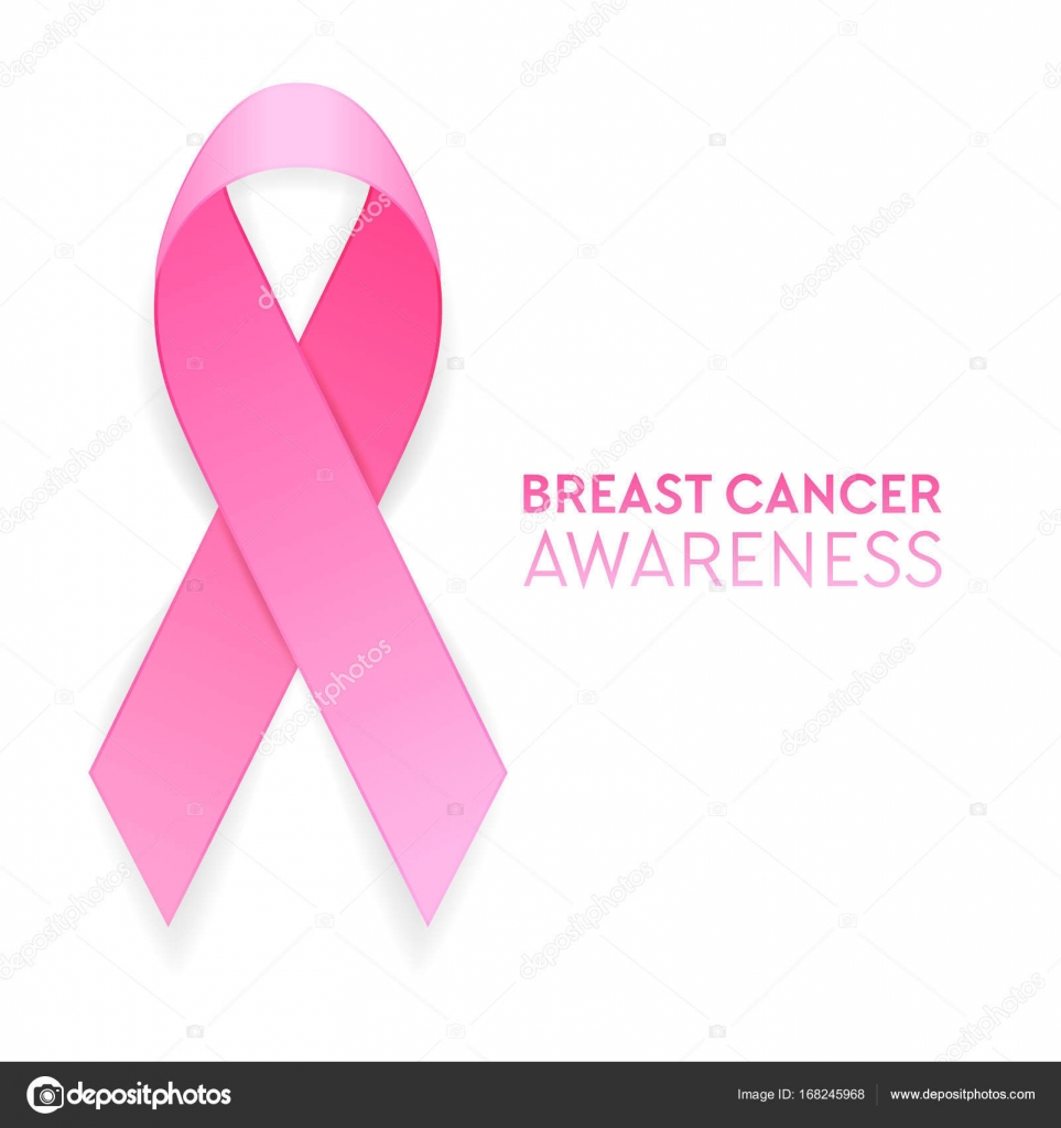 Realistic Pink Ribbon Closeup Isolated On White Background Breast