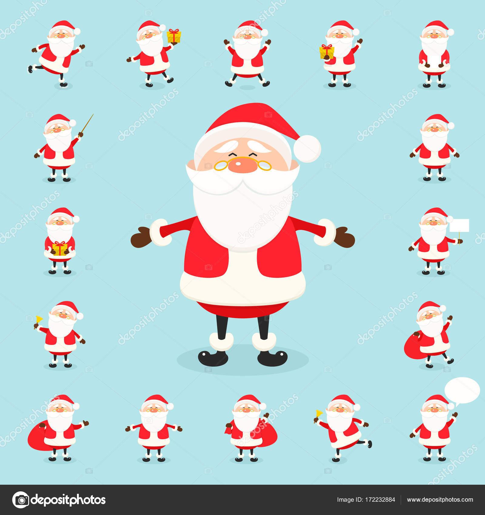 Niedliche Vektor Weihnachtsmann Symbolsatz im flachen Stil ...
