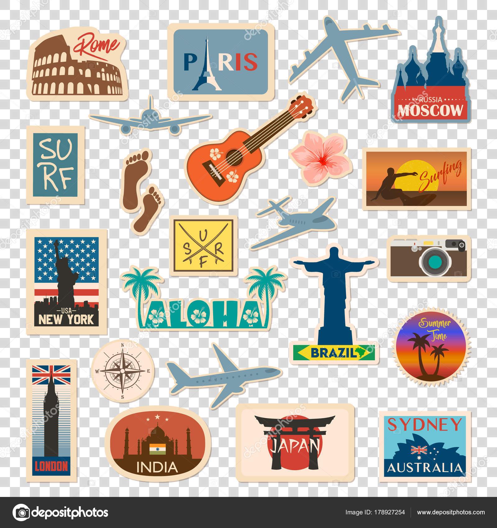 Vector de viaje etiqueta y etiqueta con famosos pa ses ciudades monumentos banderas y - Banera de viaje ...