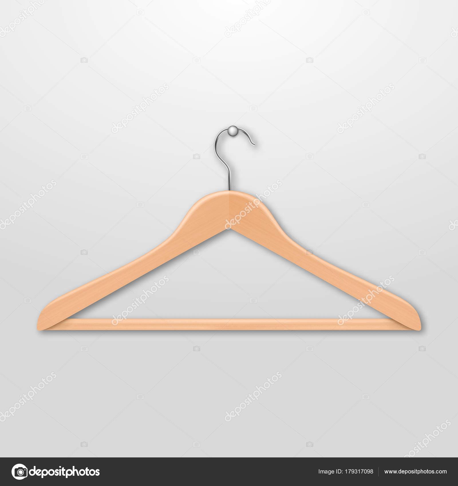 Realistische Vektor Kleidung aus Holz Kleiderbügel hautnah isoliert ...