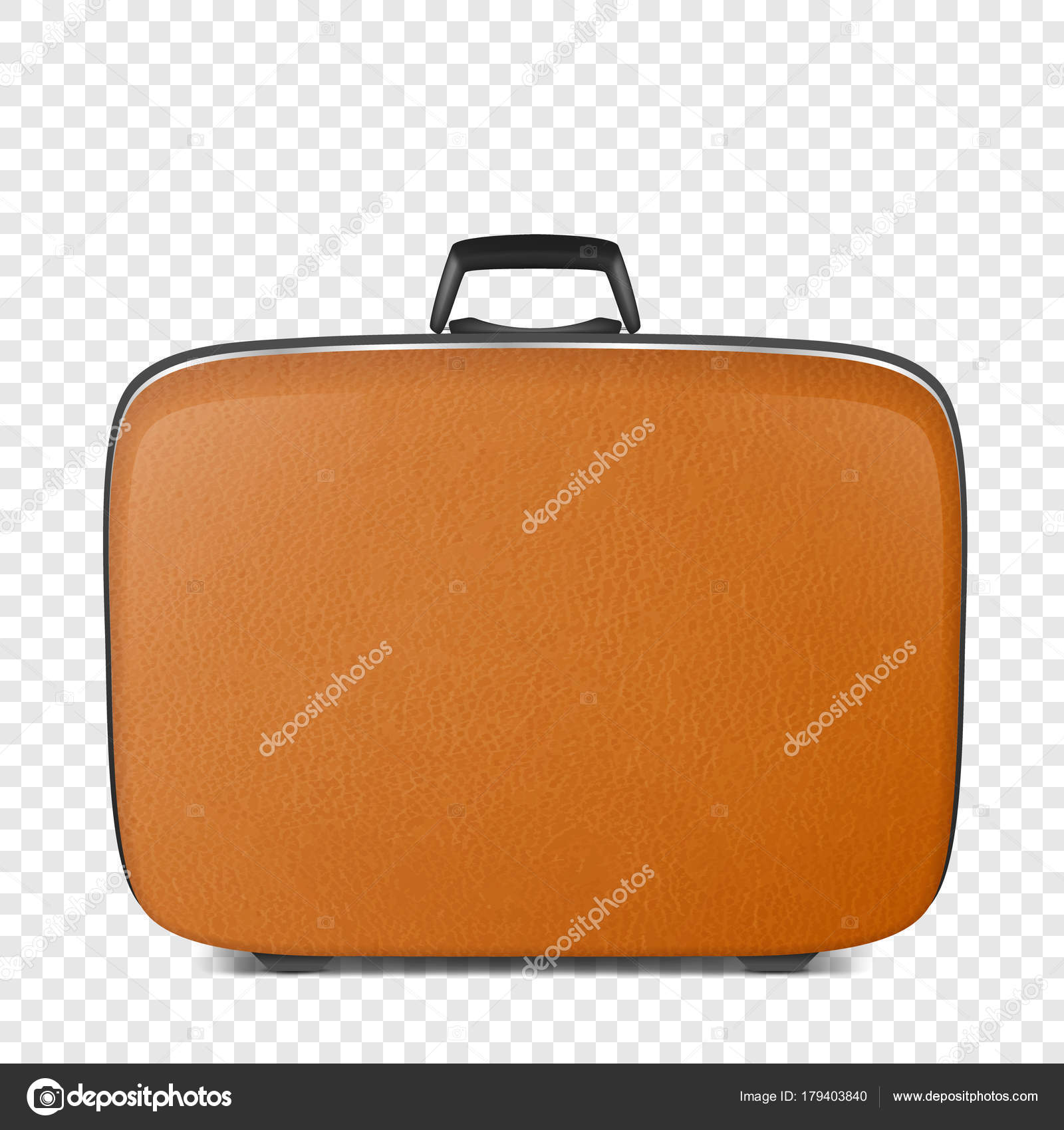 Realistic Vector Retro Vintage Leather Brown Suitcase Closeup Isolated On Transparency Grid Background Design Template Clipart Or Mockup For Graphics