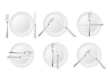 Realistic cutlery and signs of table etiquette, vector icons isolated on white background. Fork, knife and dish plate set. Design template, mockup of tableware. Top view