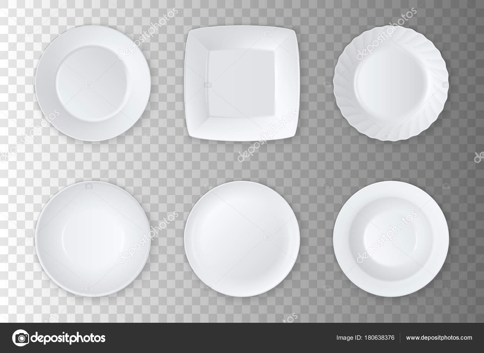 vector white empty food plate, dish and bowl icon set closeup ...