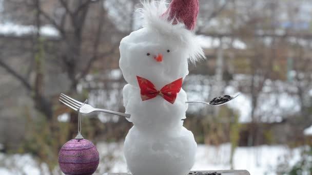 První sníh sněhulák oblečená na Vánoce