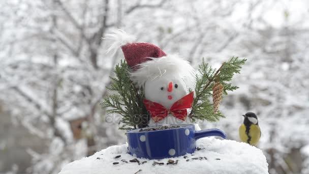 Sněhulák v klobouku a velké kozy, jíst semena
