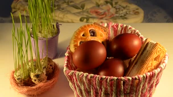 Basket filled with eggs and cookies for Easter