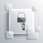Šedé Lockpicks nebo zámek tipy pro zámek vybírání ikony izolované na šedém pozadí. Čtvercové sklo. Vektorová ilustrace
