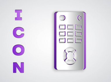 Paper cut Remote control icon isolated on grey background. Paper art style. Vector Illustration