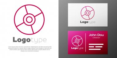 Logotype line CD or DVD disk icon isolated on white background. Compact disc sign. Logo design template element. Vector Illustration