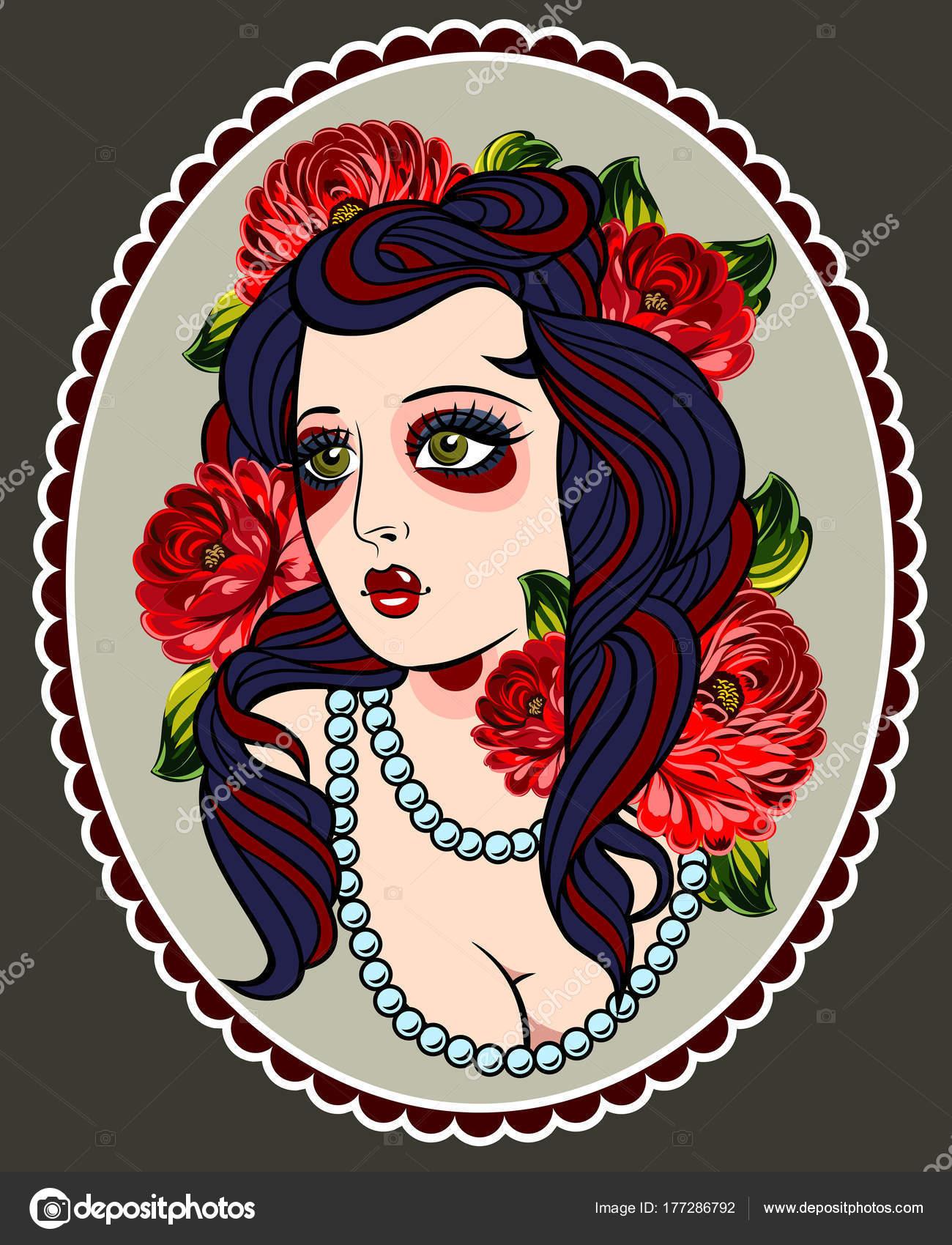 Imagen Una Chica Estilo Tradicional Perno Tatuajes Old School Para