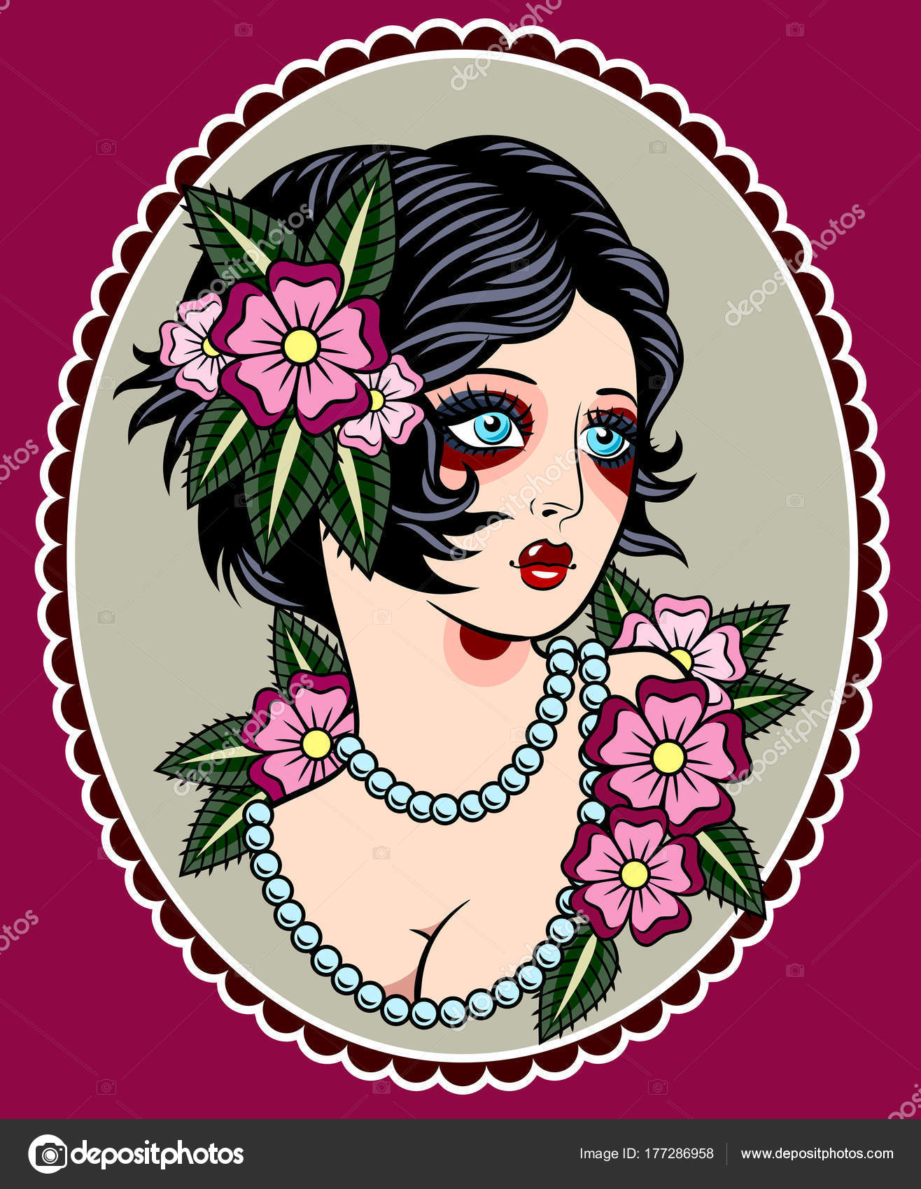 Image Sexy Girl Traditional Style Old School Tattoo Pin Beautiful