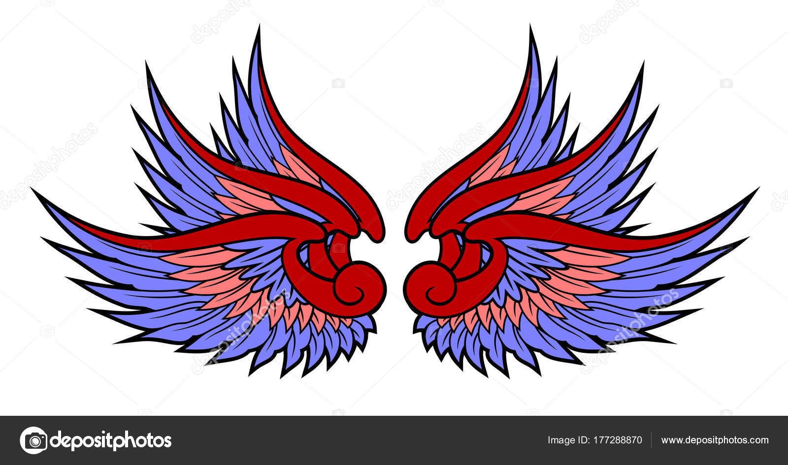 Diseño Tattoo Old School Las Alas Dibujo Estilo Tatuajes Old