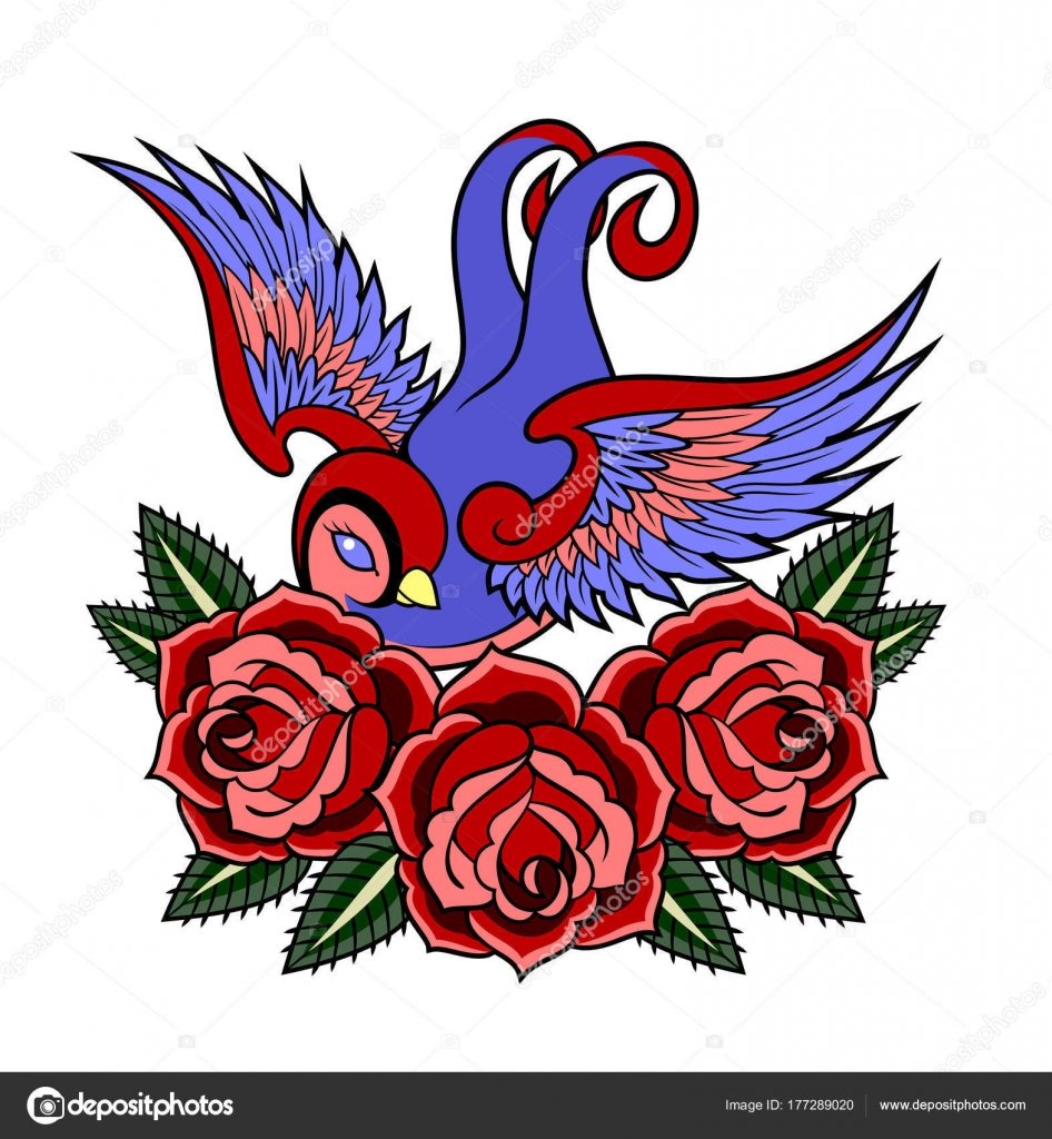 images beautiful birds old school tattoo style stock. Black Bedroom Furniture Sets. Home Design Ideas