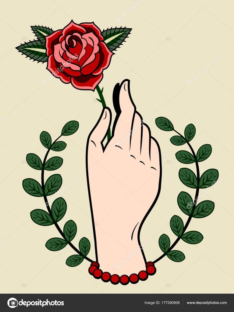 Une Main Tenant Une Rose Dessin Dans Style Des Tatouages Image
