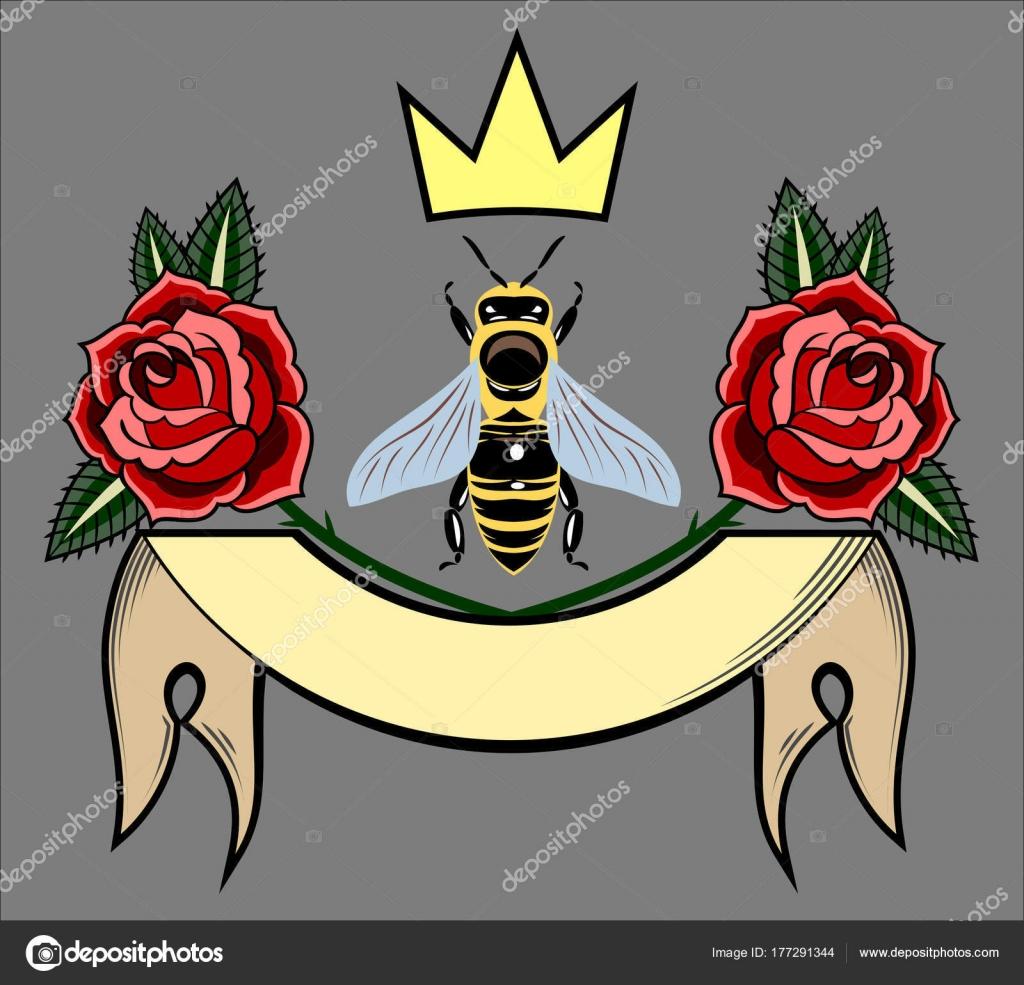 Bee Golden Crown Coat Arms Stock Vector Imagoaiva 177291344