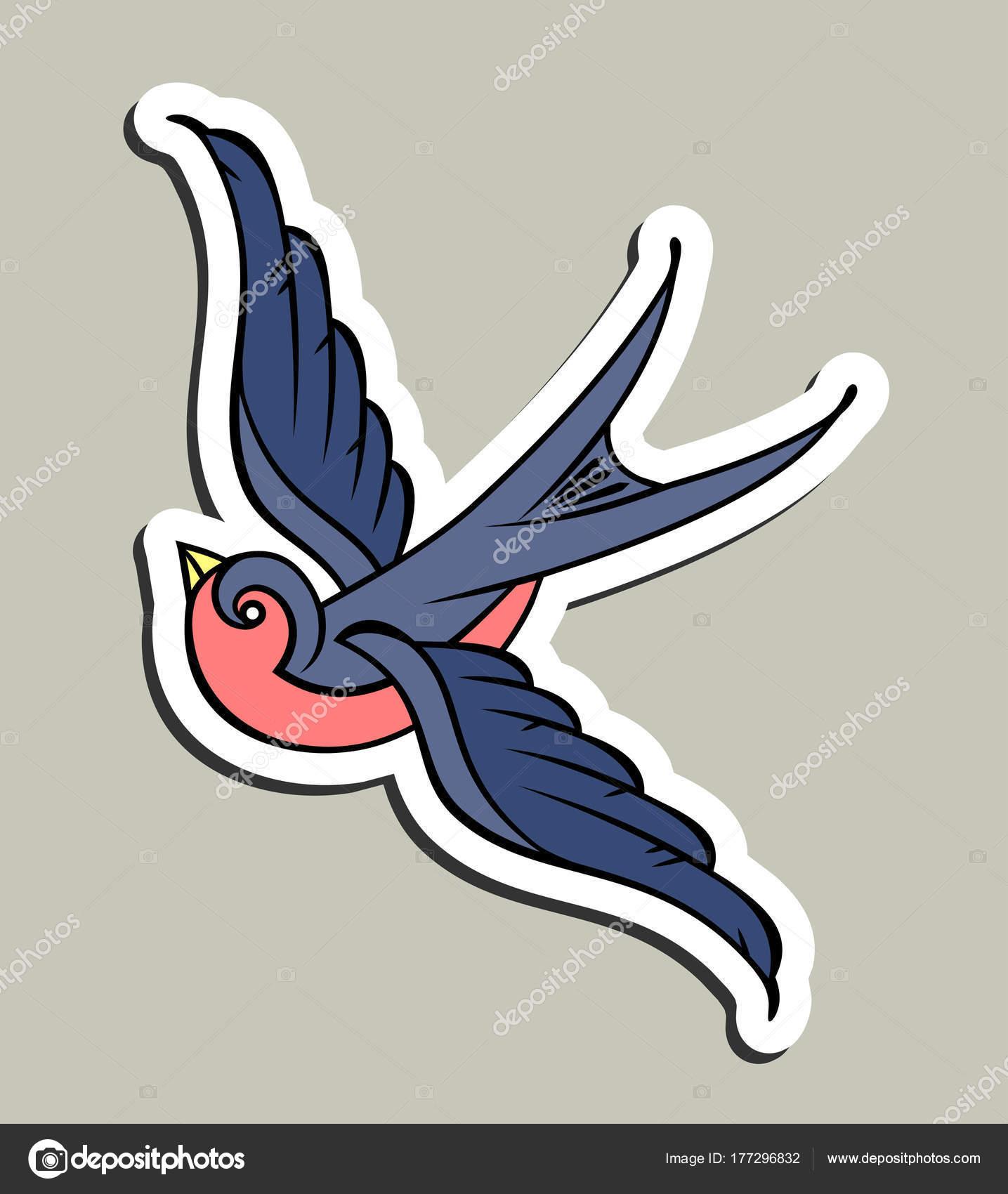 Zwaluwen Old School Tattoo Stijl Stockvector Imagoaiva 177296832