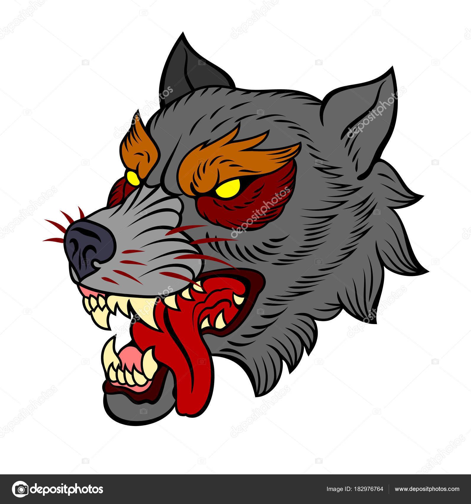 Wyuen 5 Hojas Cabeza De Lobo De Colores Tatuaje Temporal