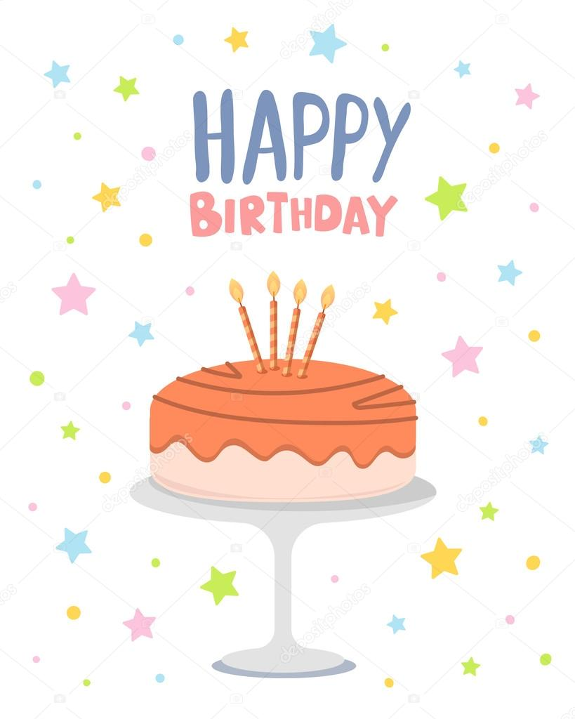 vector colorful illustration happy birthday template poster wit