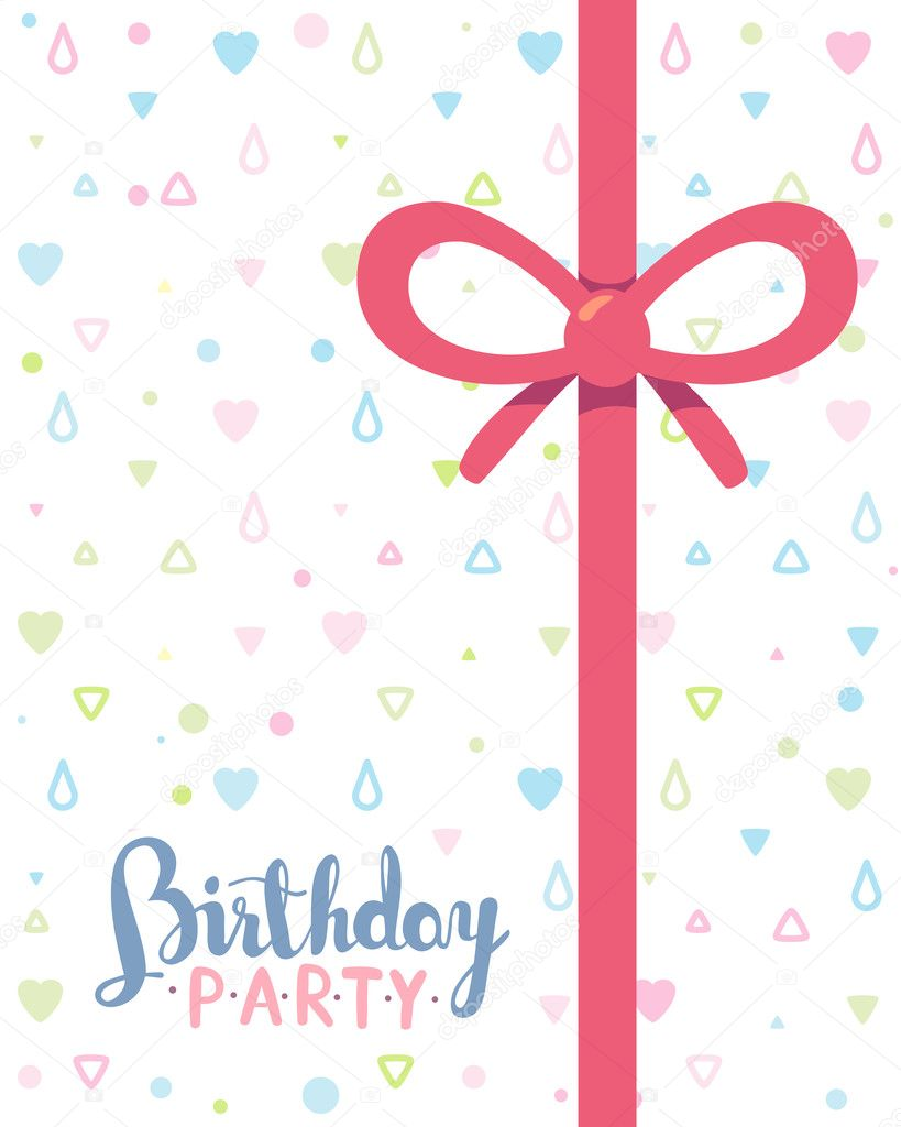 vector colorful illustration birthday party template poster wit