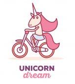 Fényképek Vector illustration of cute magic unicorn with horn, pink mane r