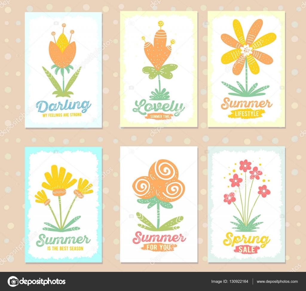 Illustration Kollektion wunderschöne florale Templates mit