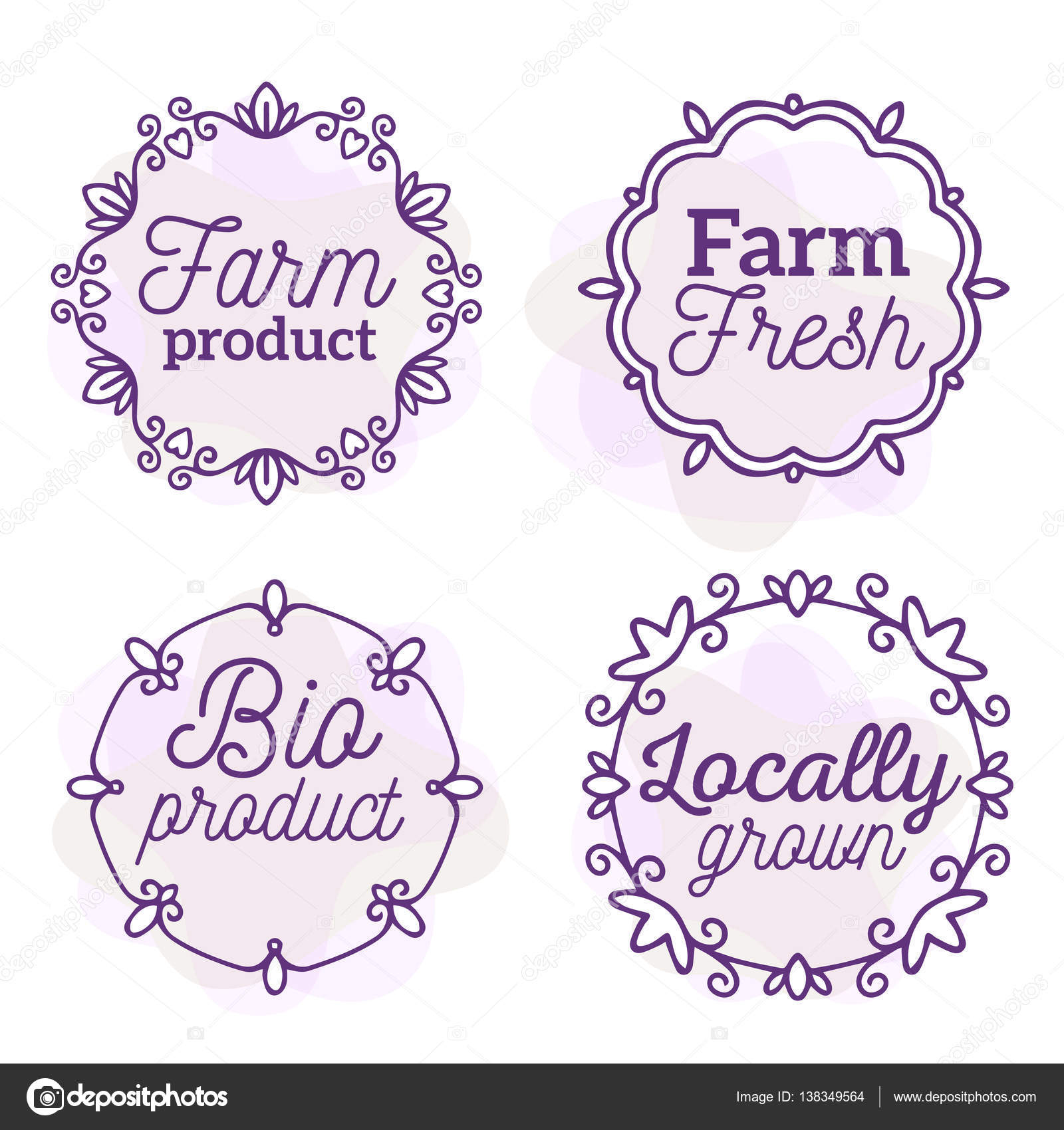 Vector set of eco badges with text. Logo watercolor templates wi ...