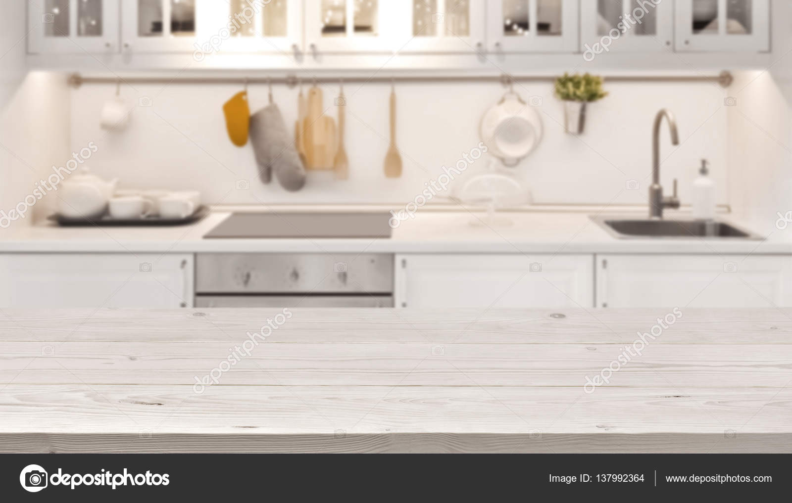 Kitchen Table Top Background kitchen table top and blur background of cooking zone interior