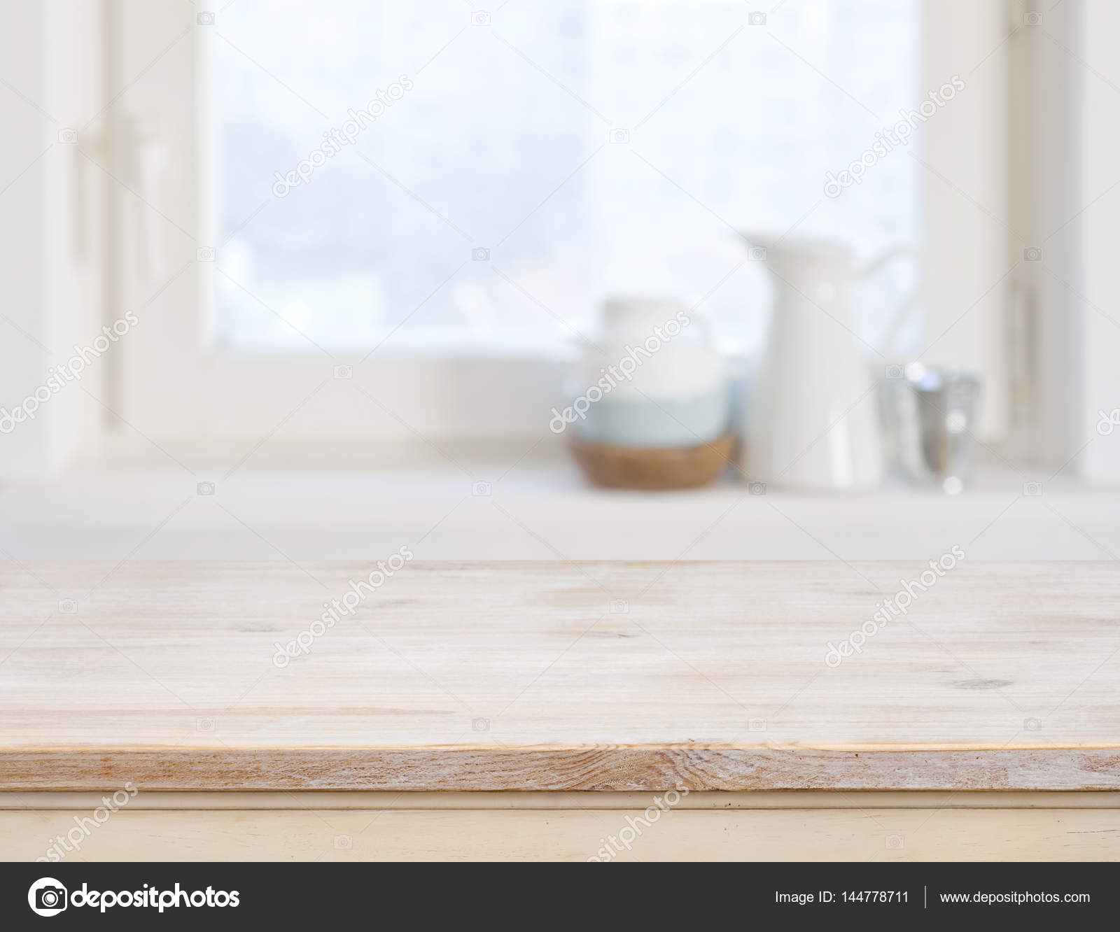 Kitchen Table Top Background wooden table top on blurred kitchen window background — stock