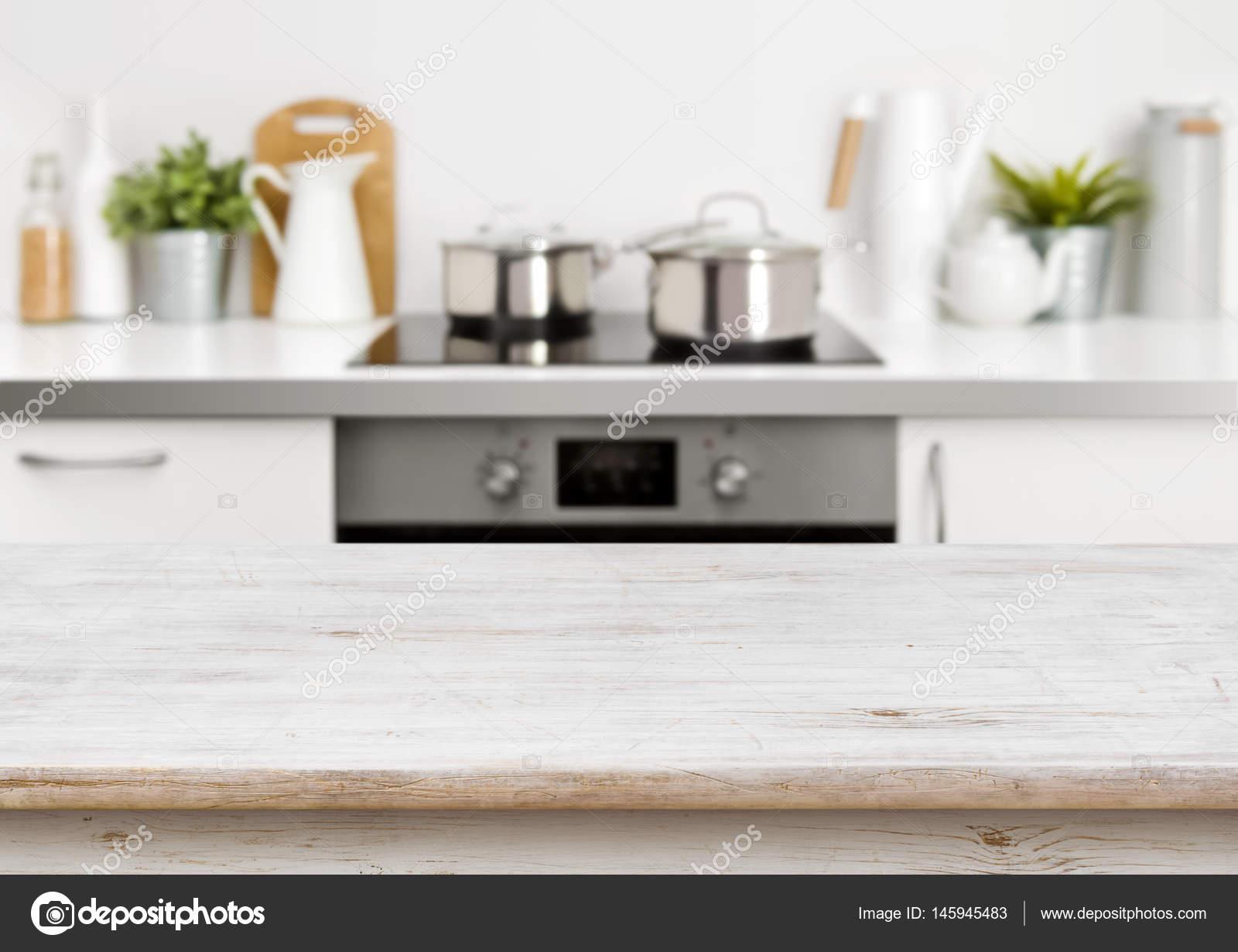Gebleicht Holz Texturtabelle Auf Defokussierten Pastell Farbe Küche  Hintergrund U2014 Stockfoto #145945483