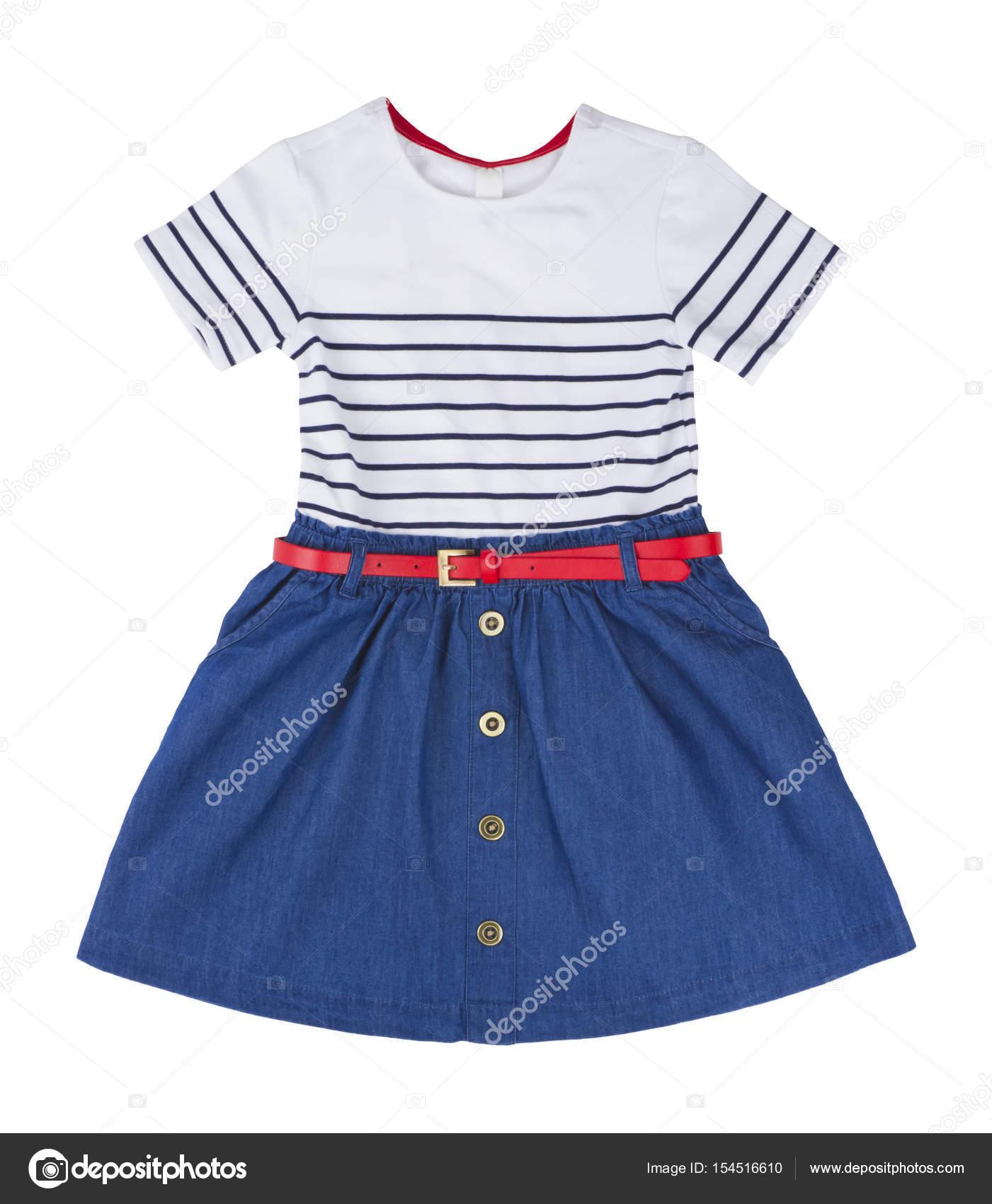 Vestido Azul Para Niña Aislada Sobre Fondo Blanco Fotos