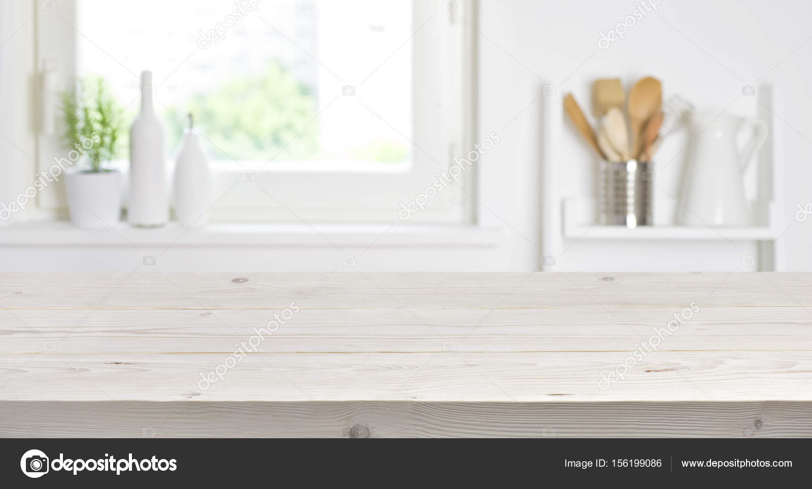 Wooden Table On Blurred Background Of Kitchen Window And Shelves Stock Photo C Didecs 156199086