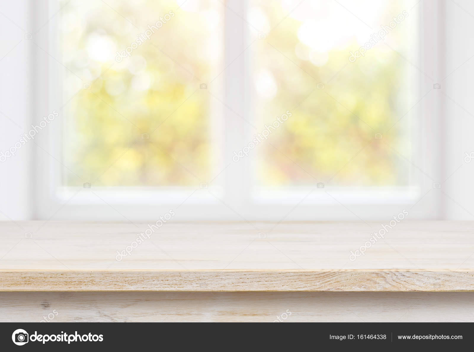 Wooden Table Top On Blurred Glass Window Wall Building Background U2014 Stock  Photo
