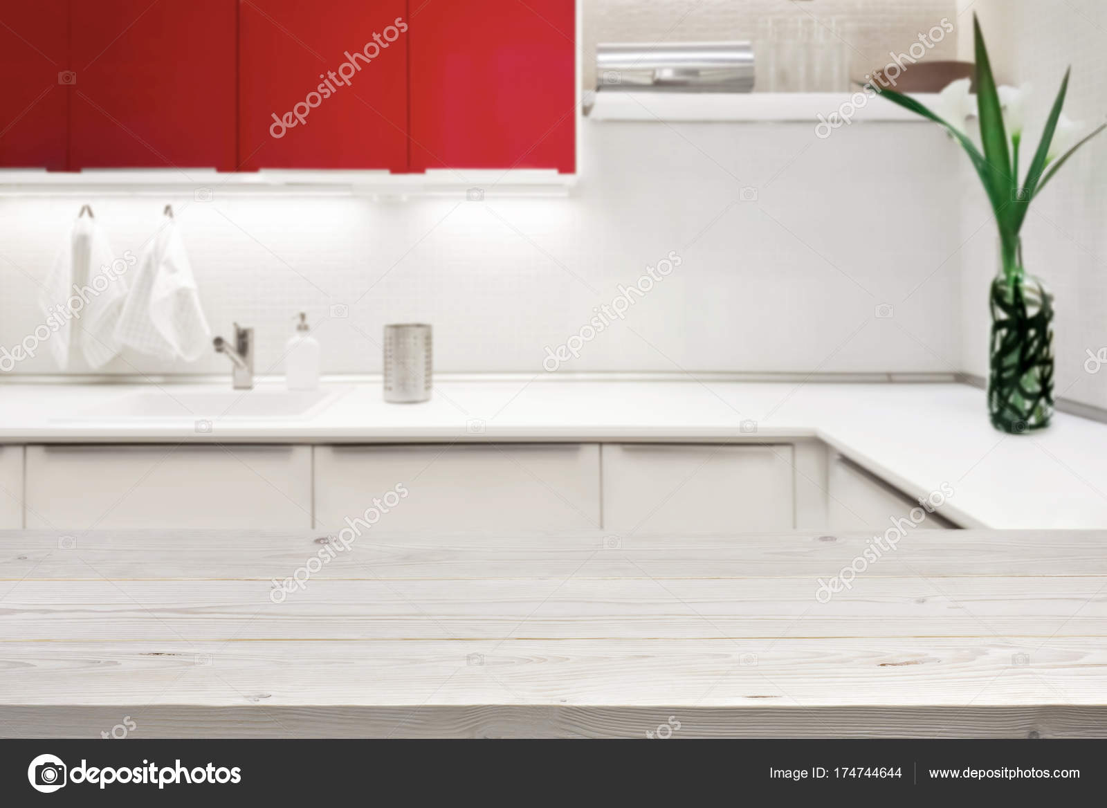 Blurred background of modern kitchen with tabletop and copy space 9