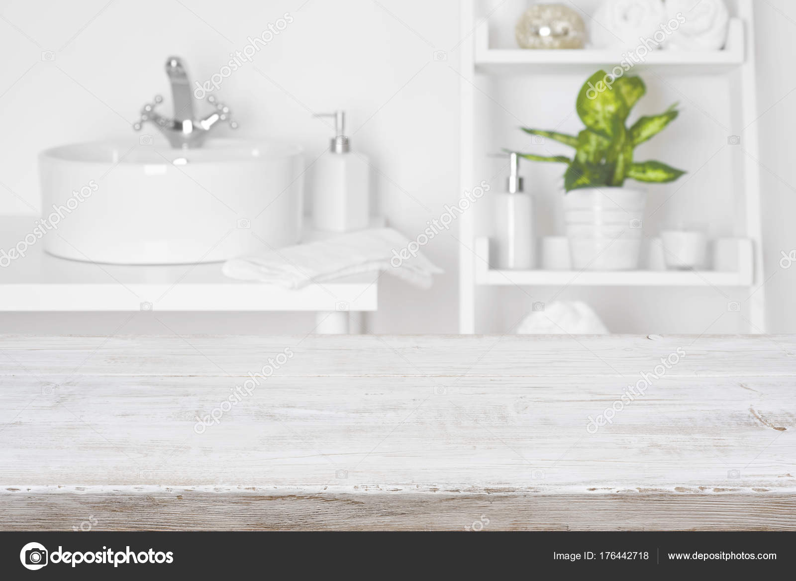 Wooden Table Front Blurred White Bathroom Shelves Background Stock Photo