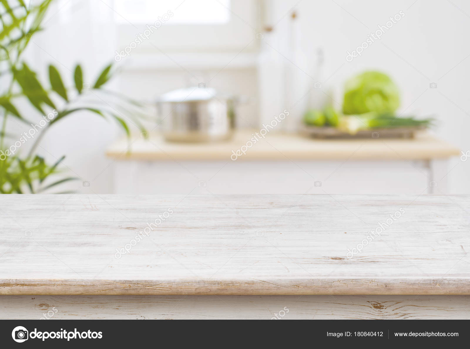 Table Top Blurred Kitchen Room Background — Stock Photo ...
