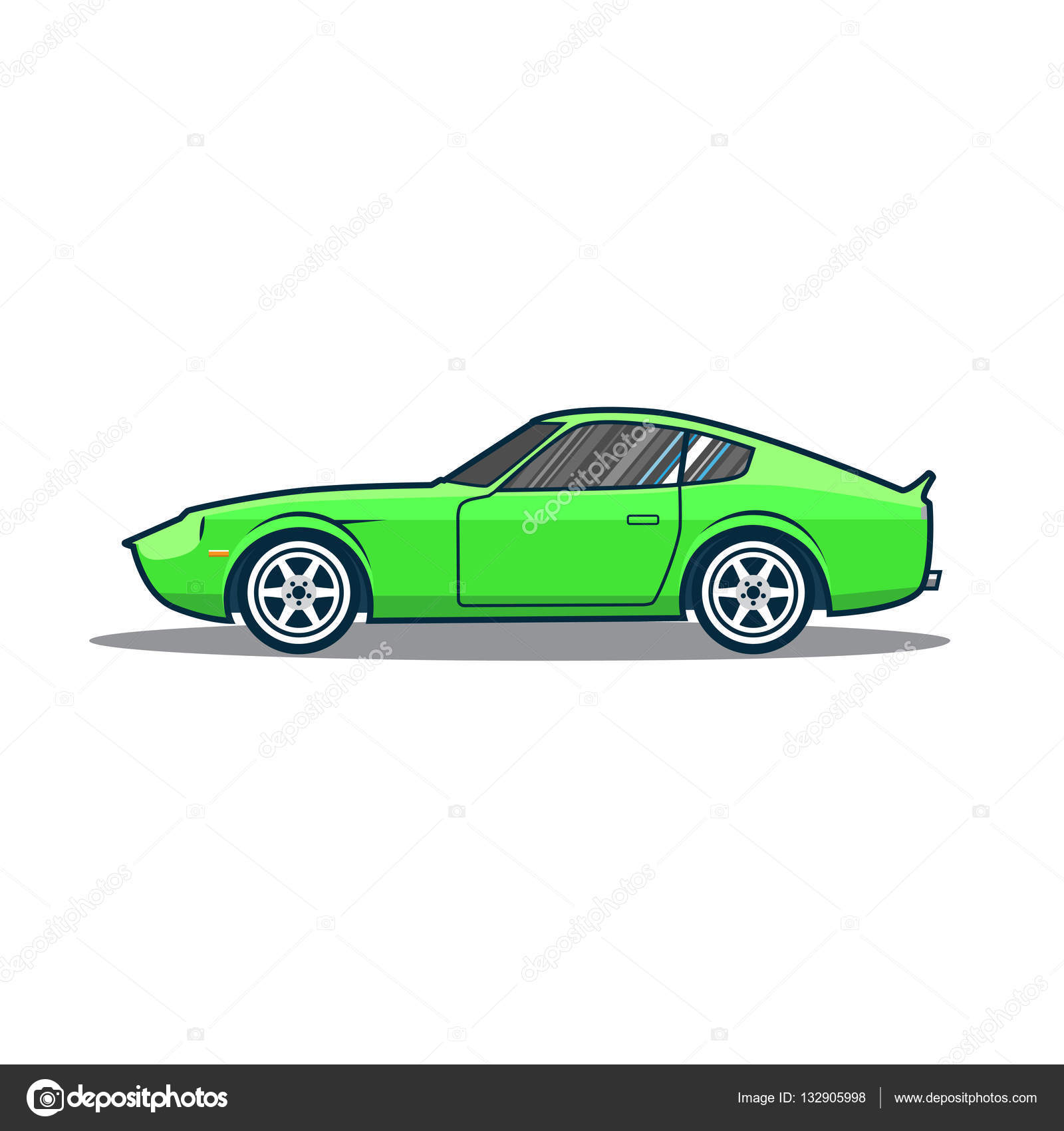 Vector old japan sport car. Green cartoon car. Side view. — Stock ...